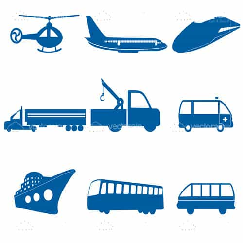 Blue Transportation Icon Set