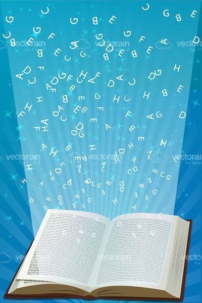 Open Book with Beam of Light and Letters