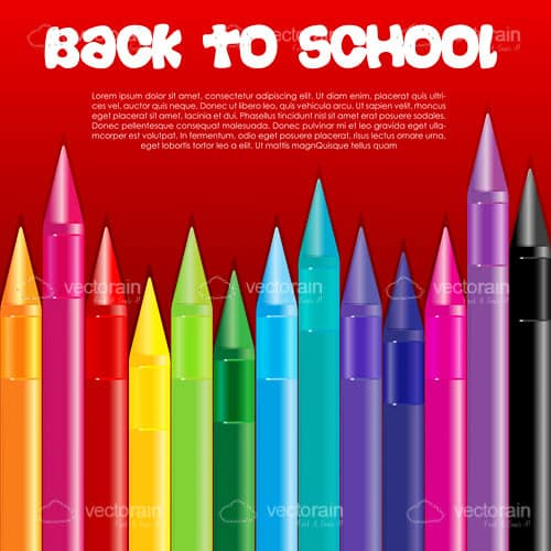 Back to School Card with Colorful Crayons and Sample Text
