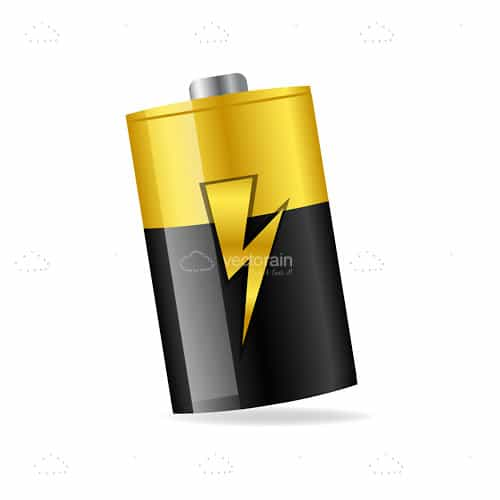 Yellow and Black Battery with Lighting Bolt Symbol