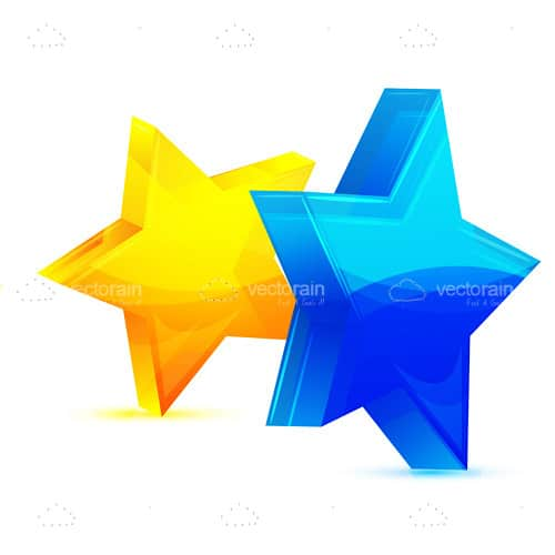 Yellow and Blue 3D Star Icons