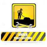 Under Construction Sign with Worker Man Silhouette