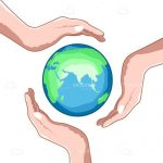 Illustrated Earth Surrounded by Hands