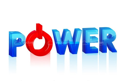 Power with Red Power Button Logo