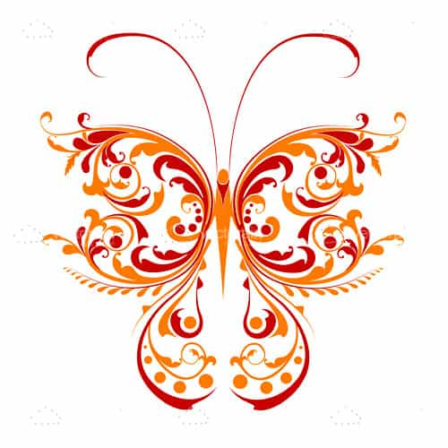 Abstract Floral Butterfly Design