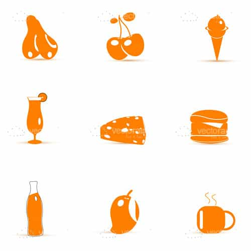 Abstract Orange Food Items Icon Pack