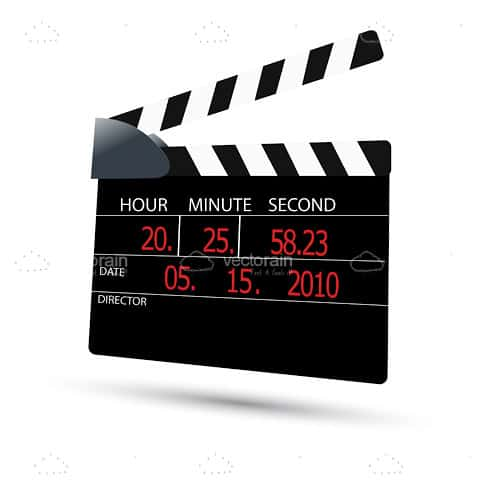Clapboard in Black and White with Red Numbers