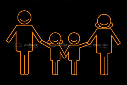 Abstract Orange Family Silhouette