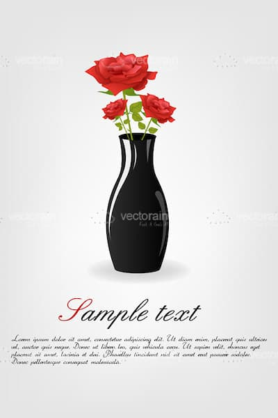 Black Vase with Roses and Sample Text