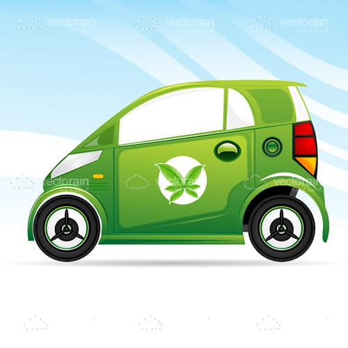 Green Compact Car with Leaf Symbol