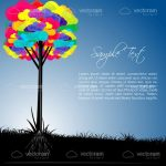 Abstract Colourful Tree Background with Sample Text