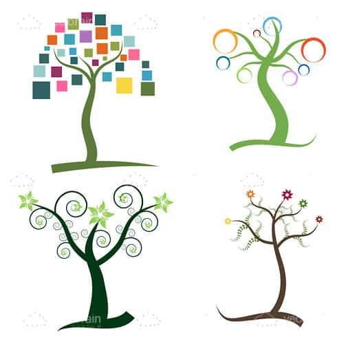 Abstract Trees Icon 4 Pack