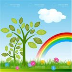 Illustrated Natural Background with Rainbow