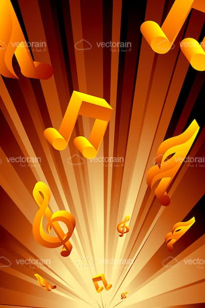 Abstract Orange Musical Notes Background