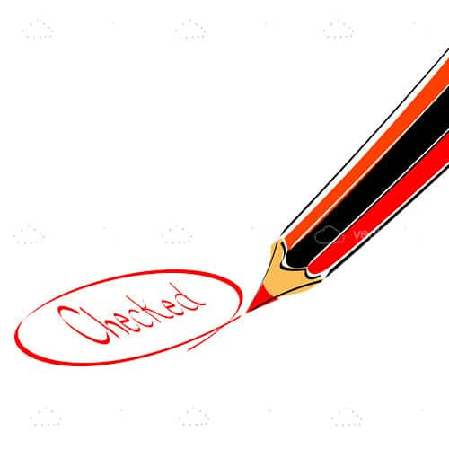 Illustrated Pencil with the Word Checked Encircled