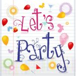 Let's Party Text with Balloons and Colorful Items