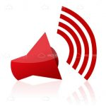Red Loudspeaker Icon with Sound Waves