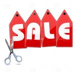 Cut Up Sales Tag with Scissors