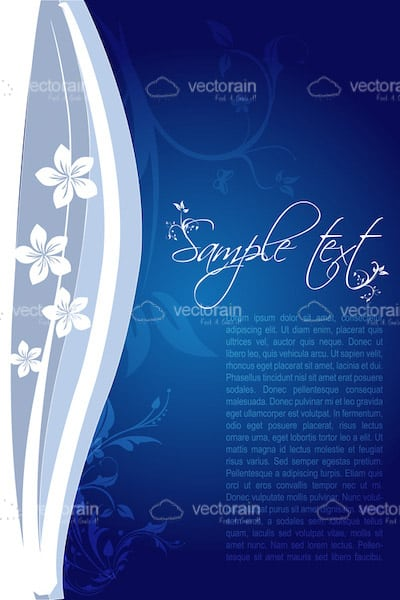 Floral Background in Blue and White with Sample Text