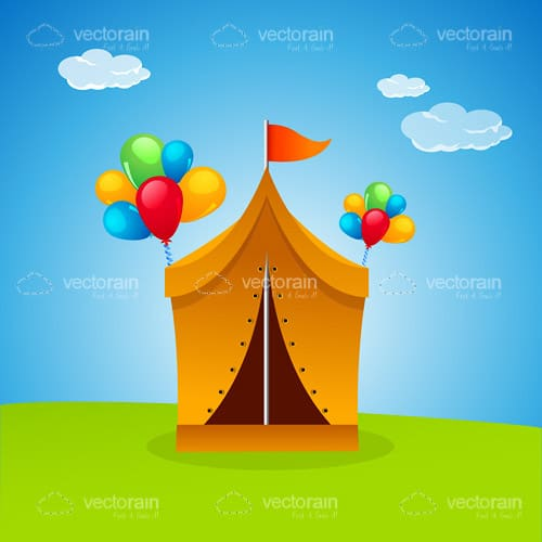 Illustrated Party Tent with Grass and Sky