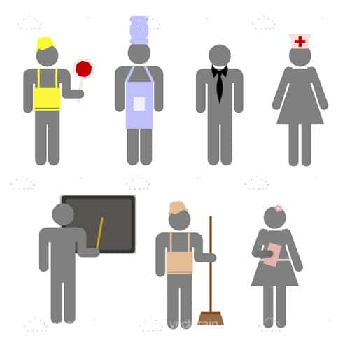 Abstract People Professions and Occupations Icon Set