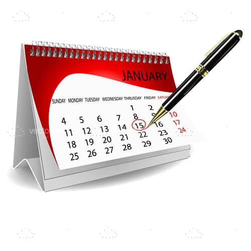 Red and White Folding Calendar with Black Pen