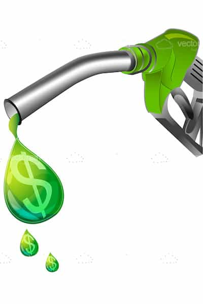 Fuel Pump and Green Fuel Drop with Dollar Symbol