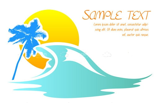Sun, Sea and Palm Tree Card with Sample Text