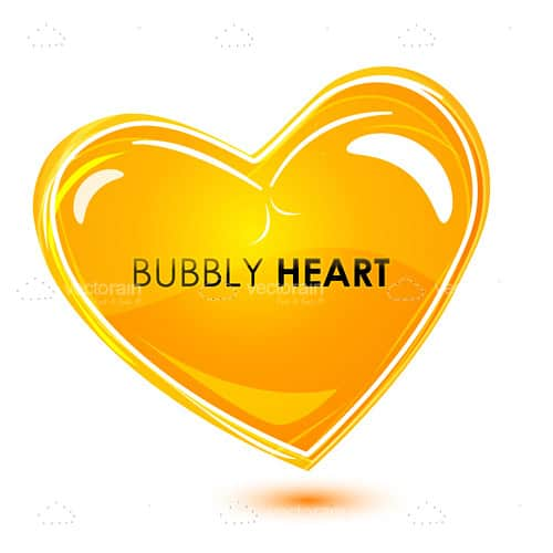 Abstract Yellow Heart With Text