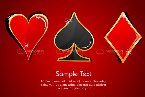 Poker Card Suit Symbols with Sample Text