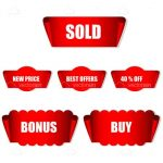 Red Marketing and Promotion Tags