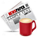 Hot Coffee with Newspaper and Sample Text