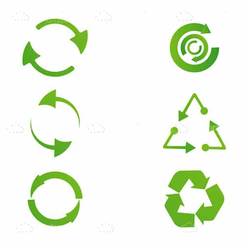 Set of Green Recycle Icons