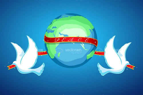 World Peace Design with Globe, White Doves and Red Ribbon