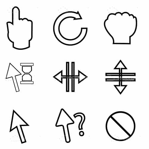 Directional Arrows and Hands Icons Set