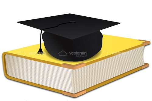 Book with University Cap On Top Of A Yellow Book