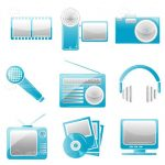 Blue Electronic Equipment Icons