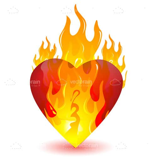 Red Heart Burning in Flames