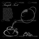 Tea Cup and Tea Pot in Black and White Sketch Style with Sample Text