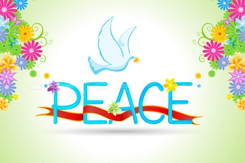 Peace Message Card with Floral Background