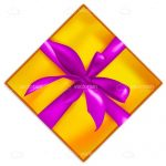 Golden Gift Box with Purple Ribbon
