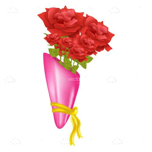 Bunch of Red Roses with Pink Wrapping