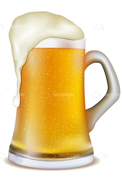 Pint of Beer with Overflowing Foam