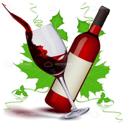 Wine Glass, Bottle and Green Leaves Design
