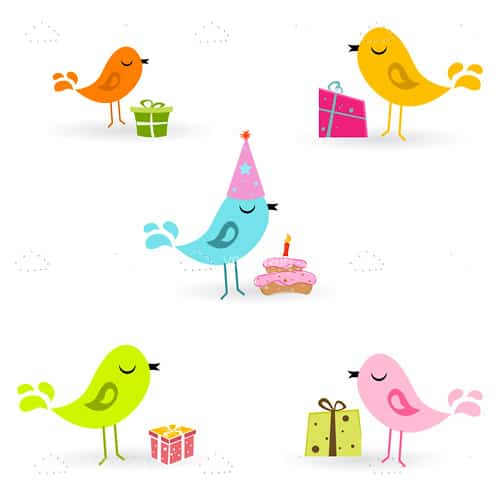 Greeting Card Design with Birds and Presents