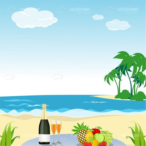 Beach Scene with Champagne and Fruit Plate