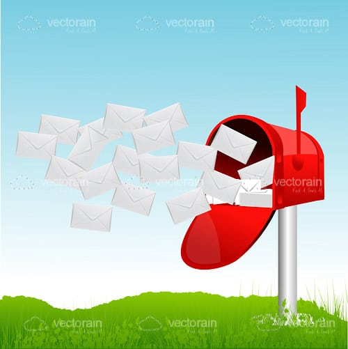 Red Letter Box and Flying Letters