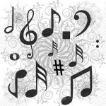 Musical Notes and Floral Pattern Background