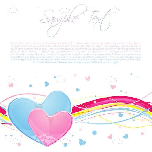 Love Themed Design with Hearts, Swirls and Sample Text
