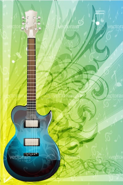 Colorful Music Card with Guitar and Floral Background